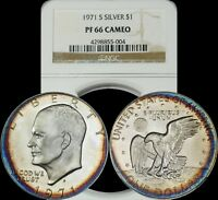 1971 S EISENHOWER SILVER DOLLAR NGC PF 66 CAMEO ORANGE/BLUE CIRCULAR TONED