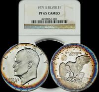 1971 S EISENHOWER SILVER DOLLAR NGC PF 65 CAMEO ORANGE & BLUE CIRCULAR TONED IKE