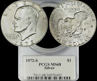 1972 S EISENHOWER SILVER DOLLAR PCGS MINT STATE 68 LIGHTLY TONED IKE