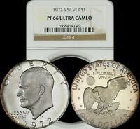 1972 S EISENHOWER SILVER DOLLAR NGC PF 66 ULTRA CAMEO RIM LIGHTLY TONED