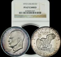 1972 S EISENHOWER SILVER DOLLAR NGC PF 67 CAMEO BLUE/VIOLET/LIGHT YELLOW TONED