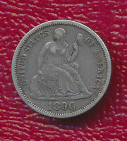 1890 SEATED LIBERTY SILVER DIME FULL SHARP
