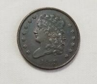 1833 CLASSIC HALF CENT AU ALMOST UNCIRCULATED COPPER COIN