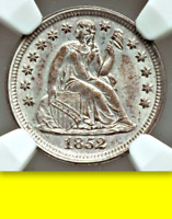 1852 NGC MINT STATE 64 POP 95 ALL GRADES $1,200 NGC PRICE GUIDE SEATED LIBERTY DIME 10C