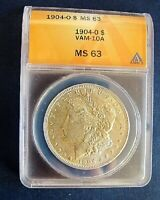 1904 O BU MORGAN DOLLAR VAM 10A DIE BREAK REVERSE ST ANACS MINT STATE 63