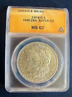 1904 O BU MORGAN DOLLAR VAM 28A TRIGGER DIE CLASHED G SUPER CD ANACS MINT STATE 62