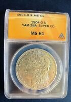 1904 O BU MORGAN DOLLAR VAM 28A TRIGGER DIE CLASHED G SUPER CD SEMI
