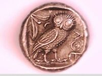 ANCIENT GREEK TETRADRACHM SILVER PLATED ATTICA ATHENS OWL ATHENA EULE REPRO COIN