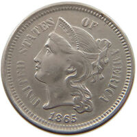UNITED STATES 3 CENTS  NICKEL 1865  T63 547