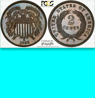 1866 PCGS PR65 $925 PCGS PRICE GUIDE 725 MINTED  PROOF  TWO CENTS 2C PIECE