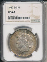 1922-D PEACE SILVER DOLLAR -BEAUTIFUL NGC CERTIFIED MINT STATE 63 SHIPS FREE