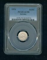 1854 P ARROWS SEATED LIBERTY HALF DIME H10C PCGS AU 50 TYPE 4 ARROWS AT DATE