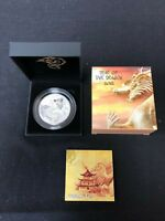 FIJI 2012 $20 YEAR OF THE DRAGON RED FIRE DRAGON 20Z. SILVER