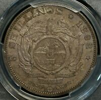 1892 SOUTH AFRICA 5 SHILLINGS DOUBLE SHAFT PCGS MS63 UNC  SILVER WORLD COIN