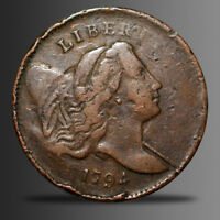 1794 LIBERTY CAP HALF CENT, LOW RELIEF C-4A, SMALL EDGE LETTERS BN, R-3 VF