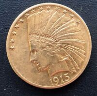 US MINT 1915 $10 DOLLAR GOLD EAGLE INDIAN HEAD BETTER DATE L