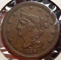 1856 BRAIDED HAIR HALF CENT, ALMOST UNCIRCULATED, ORIGINAL BROWN COIN 1208-05
