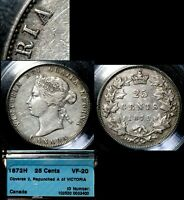 CANADA 25 CENTS   1872H REPUNCHED A IN VICTORIA   VF20 BEAUTY  L051