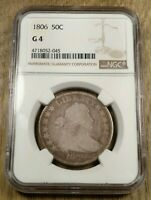 1806 POINTED 6 NO STEM DRAPED BUST HALF DOLLAR NGC G4 NEAT EARLY TYPE