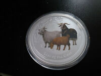 2015 COLORED 2 OZ SILVER YEAR OF GOAT LUNAR COIN PERTH MINT