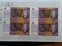 1992  AUSTRALIA UNCUT BLOCK OF 4 X $5.00 FRASER COLE BANKNOT