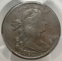 1802 DRAPED BUST LARGE CENT,  FINE, PCGS CERTIFIED
