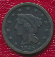 1845 BRAIDED HAIR LARGE CENT   CIRCULATED COPPER COIN SHIPS FREE