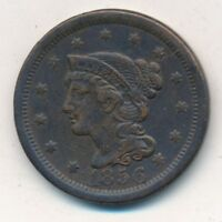 1856 BRAIDED HAIR LARGE CENT-  CIRCULATED LARGE CENT-SHIPS FREE INV:3