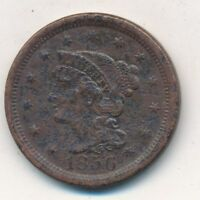 1856 BRAIDED HAIR LARGE CENT- CIRCULATED LARGE COPPER CENT-SHIPS FREE