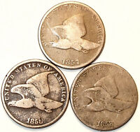 1857-1858 FLYING EAGLE CENTS, 3 PIECE SET, COPPER/NICKEL, FULL EYES,