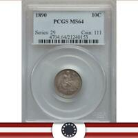 1890 10C SEATED LIBERTY DIME CERTIFIED PCGS MINT STATE 64   21240153