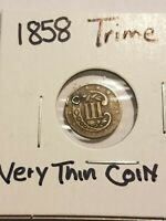 1858 SILVER THREE-CENT TRIME, HAS A HOLE, GOOD COIN
