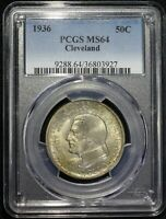 1936 CLEVELAND GREAT LAKES COMMEMORATIVE HALF DOLLAR PCGS MINT STATE 64 LUSTROUS TONED