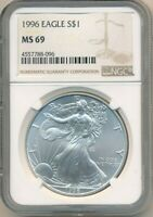 1996 AMERICAN SILVER EAGLE-NGC GRADED MINT STATE 69-BEAUTIFUL COIN SHIPS FREE INV:4