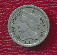 1881 THREE CENT NICKEL LY TONED TYPE COIN SHIPS FREE