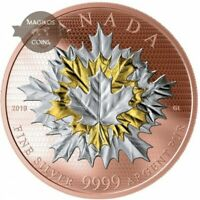 CANADA 2019 50$ MAPLE LEAVES IN MOTION 5 OZ SILVER COIN