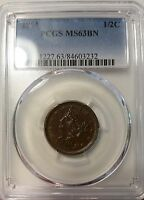1853 1/2C BN BRAIDED HAIR HALF CENT PCGS MINT STATE 63BN