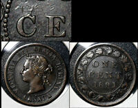 MARCH SALE   CANADA 1 CENT   1891 LDLL O2 DIE CHIP C CENT EARLY   VF   BFA365