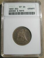 1853 LIBERTY SEATED QUARTER ANACS EF 40 ARROWS AND RAYS XF40 SILVER TYPE COIN