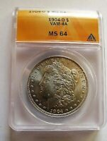 1904 O BU MORGAN DOLLAR VAM 4A ANACS MINT STATE 64 DOUBLED DATE, PITTING IN OL