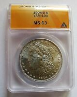 1904 O BU MORGAN DOLLAR VAM 10A ANACS MINT STATE 63 DIE BREAK TOP FIRST S FEW KNOWN