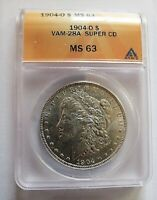 1904 O BU MORGAN DOLLAR VAM 28A ANACS MINT STATE 63 TRIGGER SUPER CD