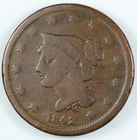 1842 BRAIDED HAIR LARGE CENT 1C - SMALL DATE