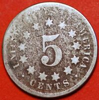 5 CENTS 1867 SHIELD NICKEL WITHOUT RAYS KM 97 UNITED STATES
