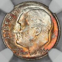 1964-D ROOSEVELT DIME NGC MINT STATE 67 BLAZING FIRE TONED COLORFUL TONING 4Q