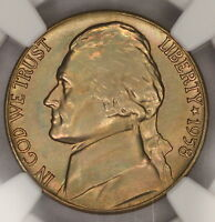 1958-D JEFFERSON NICKEL NGC MINT STATE 66 5FS LIGHTL RAINBOW TONED COLORFUL TONING 7K