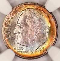 1960-D ROOSEVELT DIME NGC MINT STATE 67 SUPER RAINBOW TONED COLORFUL TONING 2O