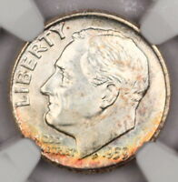 1959-D ROOSEVELT DIME NGC MINT STATE 65 FT COLORFUL ALBUM TONED FULL TORCH BEAUTY 12J