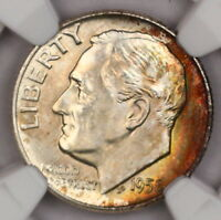 1958-D ROOSEVELT DIME NGC MINT STATE 66 CRESCENT RAINBOW TONED COLORFUL TONING 11L