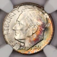 1961-D ROOSEVELT DIME NGC MINT STATE 65 FT RAINBOW TONED COLORFUL TONING 12D